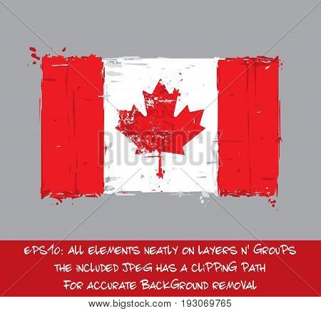 Canadian Flat Flag - Vector Artistic Brush Strokes and Splashes. Grunge Illustration all elements neatly on layers and groups. The JPEG has a clipping path for accurate background removal