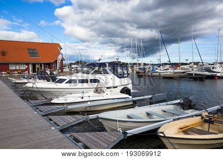 Yachts in the town Christisnsand, Norway. Western Norway, Scandinavia Europe