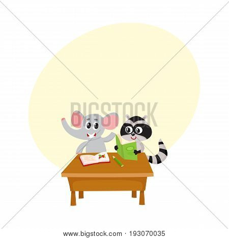 Cute elephant and raccoon student characters sitting at school desk, reading, cartoon vector illustration with space for text. Little elephant and raccoon students, back to school concept