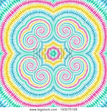 Tie Dye Background Boho Hippie Vector Shibori Rainbow Spiral 1