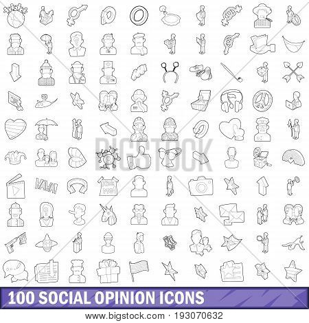 100 social opinion icons set in outline style for any design vector illustration