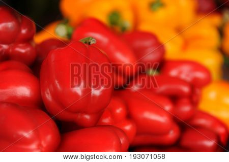 Red Bell peper and yellow in the market.