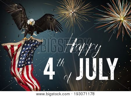 American feast 4Th of July, Independence Day. North American Bald Eagle flying with American flag. poster