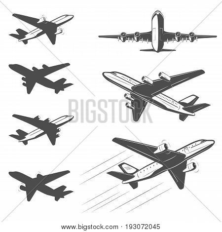 The silhouette of a passenger airplane in a flight. From different angles. For advertising and design.