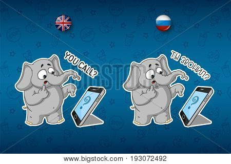 Stickers elephants. Someone called, surprised. Big set of stickers in English and Russian languages. Vector, cartoon