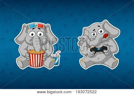 Sticker elephant. He watches a movie and plays in the console. 3D glasses. Gamepad. Big set of stickers in English and Russian languages. Vector, cartoon