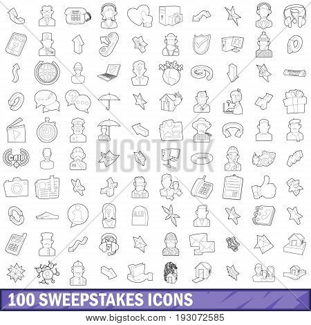 100 sweepstakes icons set in outline style for any design vector illustration
