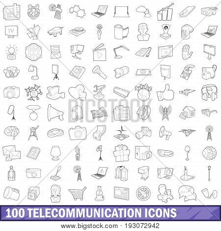 100 telecommunication icons set in outline style for any design vector illustration