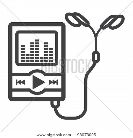 Music player line icon, mp and device, vector graphics, a linear pattern on a white background, eps 10.