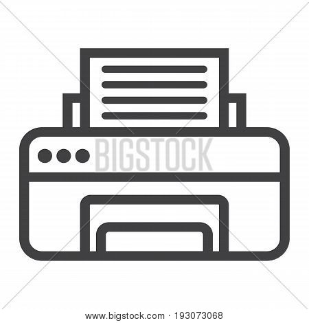 Printer line icon, fax and office, vector graphics, a linear pattern on a white background, eps 10.