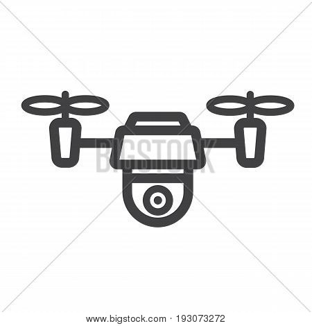 Drone line icon, fly and copter, vector graphics, a linear pattern on a white background, eps 10.
