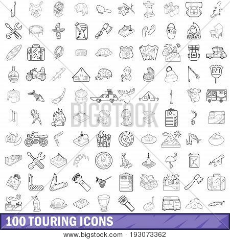 100 touring icons set in outline style for any design vector illustration