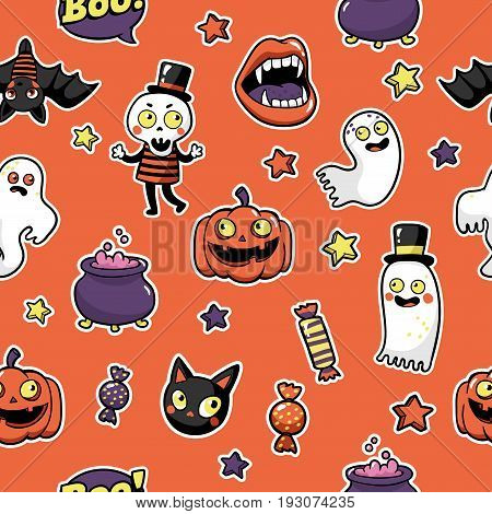 Halloween seamless pattern with fashion patch badges with ghost, pumpkin, vampire, black cat, skeleton and other elements. Vector background with stickers, pins, patches in cartoon comic style.