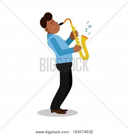Young black man playing sax cartoon character, saxophone player vector Illustration isolated on a white background