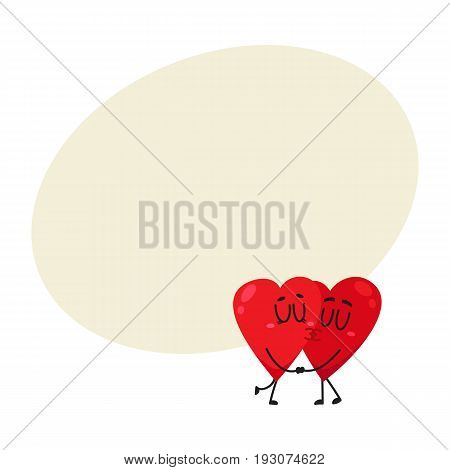 Two hearts kissing each other, holding hands, couple in love concept, cartoon vector illustration with space for text. Funny couple of hearts kissing, eternal love concept, Valentine day