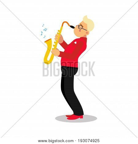 Young man playing sax cartoon character, saxophone player vector Illustration isolated on a white background