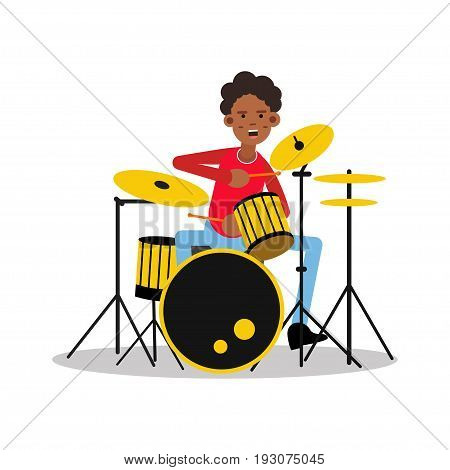 Young black mucisian man playing on drum kit cartoon character vector Illustration isolated on a white background