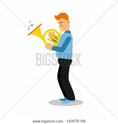 Young musician playing french horn cartoon character vector Illustration isolated on a white background