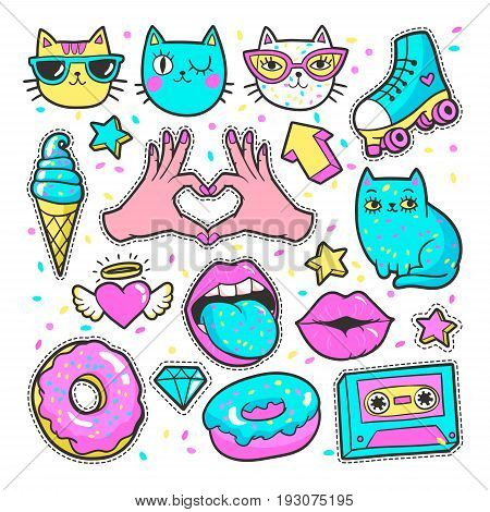 Fashion patch badges with lips, hearts, cats, stars and other elements for girls. Vector illustration isolated on white background. Set of stickers, pins, patches in cartoon 80s-90s comic style.