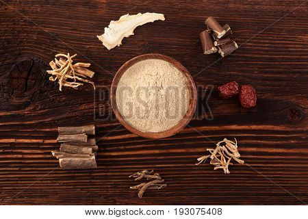 Chinese traditional medical herbs adaptogens. Ashwagandha ginseng; jujube korean angelica and milk vetch.