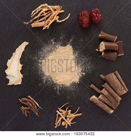 Asian medical herbs alternative medicine. Aswagandha ginseng jujube korean angelica milk vetch oriental raisin tree. Powder root wood and fruit.