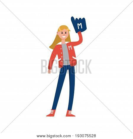 Sport fun girl standing and rising hand with foam finger glove cartoon character, supporter of american football vector Illustration isolated on a white background