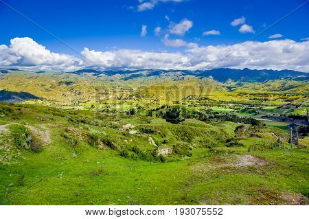 Beautiful landscape of the mountains near of Quilotoa volcano. Quilotoa is the western volcano in Andes range and is located in andean region of Ecuador.