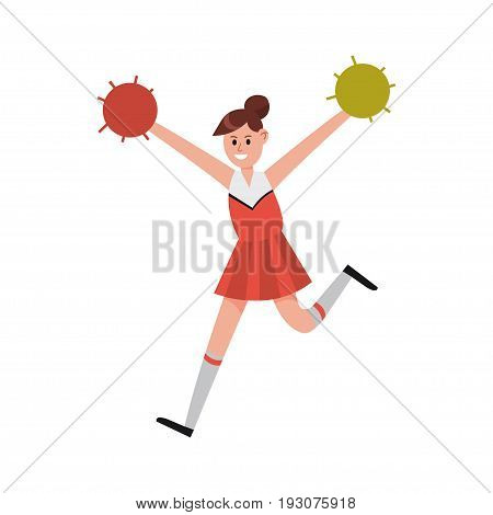 Cheerleading girl dancing with pompoms to support her team cartoon character vector Illustration isolated on a white background