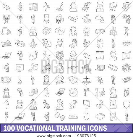100 vocational training icons set in outline style for any design vector illustration