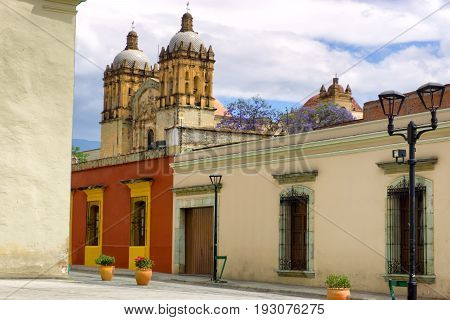 Colonial architecture and large Cathedral of Our Lady of the Assumption in Oaxaca Mexico