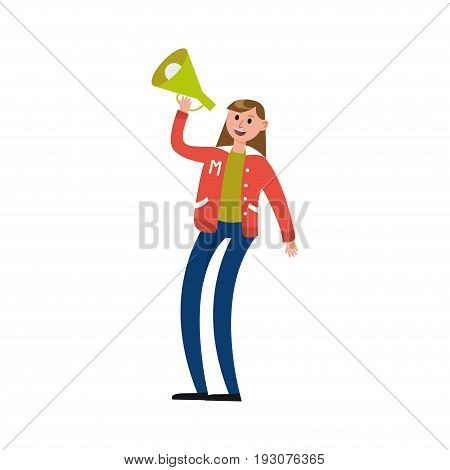 Sport fun girl supporting her team with loudspeaker vector Illustration isolated on a white background
