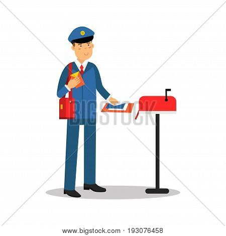 Postman in blue uniform putting letters in mailbox, cartoon character vector Illustration isolated on a white background