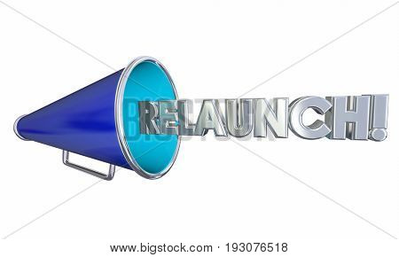 Relaunch Start Over Again Megaphone Bullhorn 3d Illustration