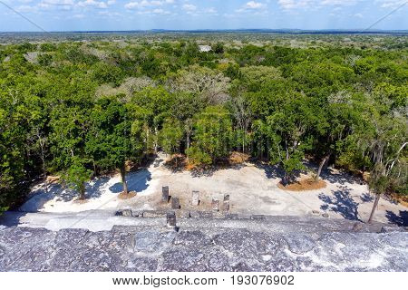 View ruins of Calakmul in Campeche Mexico