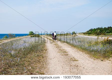 OLAND, SWEDEN - JUNE 09; Cycling tourists in a beautiful landscape at the swedish island Oland on June 09, 2017