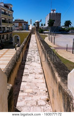 Vertical view of the defensive wall surrounding the historic center of Campeche Mexico