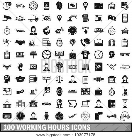 100 working hours icons set in simple style for any design vector illustration