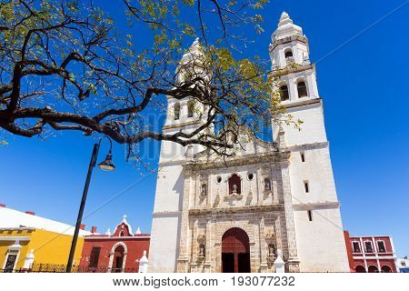 Our Lady of the Immaculate Conception Cathedral on the main plaza in Campeche Mexico
