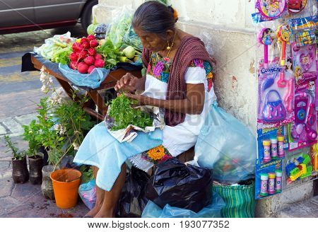 VALLADOLID MEXICO - FEBRUARY 11: Woman selling vegetables on the street in Valladolid Mexico on February 11 2017