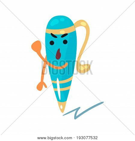 Wrathful cartoon humanized pen character threatening with a fist vector Illustration isolated on a white background