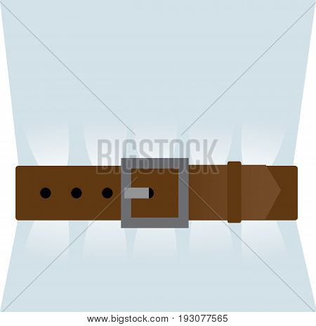 A Brown leather belt is tightened over the shirt