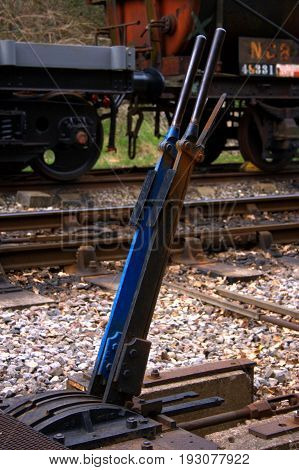 An old set of  railway points levers