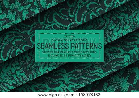 Collection of 5 Different Vector Abstract Stippled Fashion Seamless Patterns. Set of Handmade Tileable Vintage and Retro Style Geometric Dotted Structure Grunge Background. Design Element