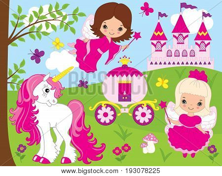 Vector cute little fairies with unicorn, carriage and castle. Unicorn and fairies vector illustration.