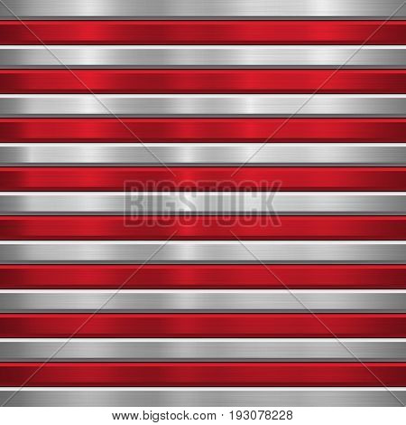 Metal technology background with red horizontal stripes, polished, brushed texture, chrome, silver, steel, aluminum and bevels for design concepts, wallpapers, web, prints. Vector illustration.