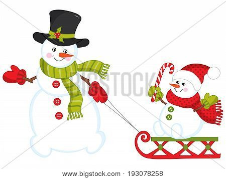 Vector happy snowman family.  Christmas and New Year vector illustration.