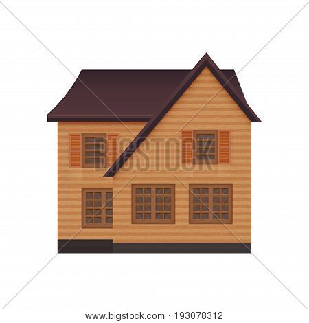 illustration of detailed suburban family house. Isolated on white background photo-realistic vector illustration