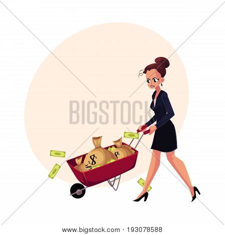 Sad, frustrated woman, girl, businesswoman pushing wheelbarrow with money bags, cartoon vector illustration with space for text. Businesswoman, woman, girl pushing wheelbarrow with money bags