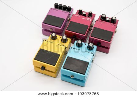 Group Of Vintage Guitar Pedals