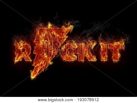 Burning rock it letters in music concept